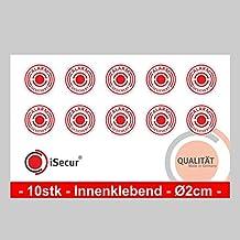 """10 Stück Aufkleber """"Alarm"""", iSecur®, alarmgesichert, Durchmesser 20mm, Art. hin_004_20mm_innen, Hinweis auf Alarmanlage, innenklebend für Fensterscheiben, Haus, Auto, LKW, Baumaschinen"""