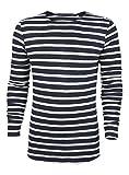 Herren Langarmshirt | Männer Sweatshirt L/Weiß/Navy