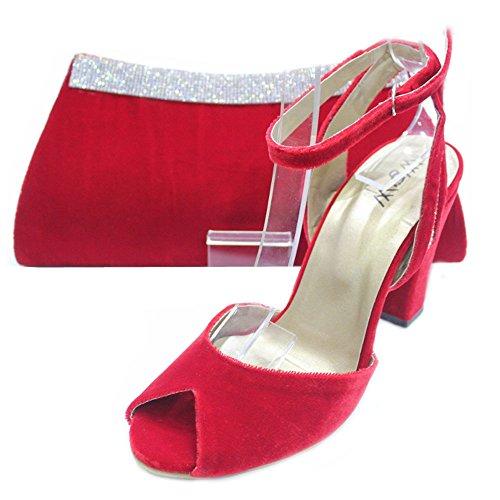 W & W femmes Mesdames Soirée Chaussures et sac assorti en velours confort Taille (Nisha & Zebi) Rouge