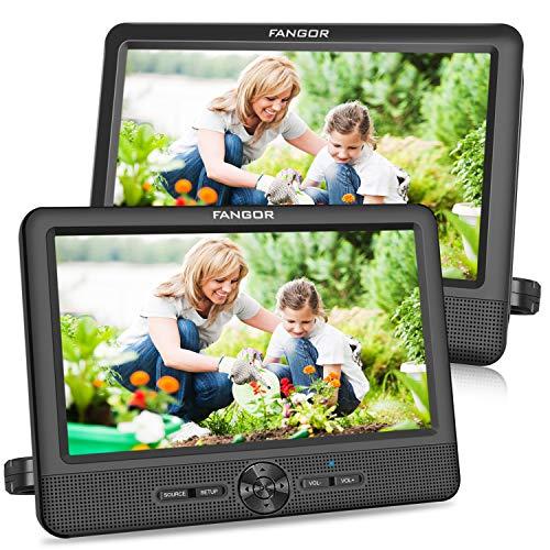 FANGOR 9,5 Zoll Auto DVD Player tragbare 2 Monitore Kopfstützen Bildschirme Auto Fernsehen mit 5 StundenAkku, letztem Speicher und USB/SD Kartensteckplatz (1 Host + 1 Slave)