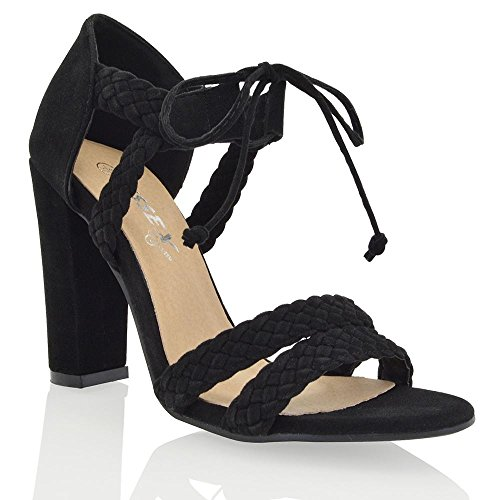 NEW WOMENS STRAPPY BLOCK HIGH HEEL LADIES LACE UP WOVEN PARTY SANDALS...