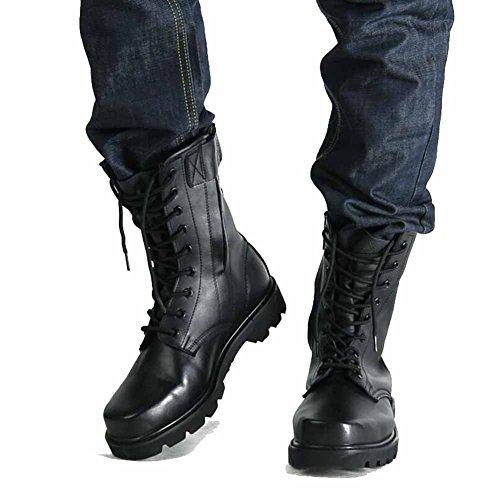 Männer Leder Jagd Stiefel Hohe Aufstieg Martin Stiefel Herbst Winter Lace up Walking Boots Im Freien Wasserdichte Turnschuhe (Farbe : Schwarz, Größe : 45=275)