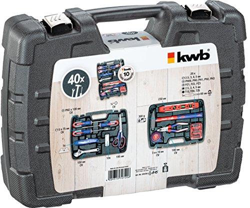 kwb Werkzeugkoffer 370720 (40-teiliger Inhalt, ideal für den ambitionierten Hausgebrauch, im praktischen Kunststoffkoffer)