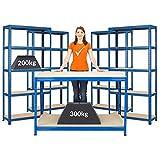 Mega Deal | Set aus 1x Werkbank (Tiefe 60 cm) und 4x Schwerlastregal (Tiefe 30 cm) | Metallregal Kellerregal Lagerregal Werkstattregal Garagenregal | Belastbar mit 1000 kg