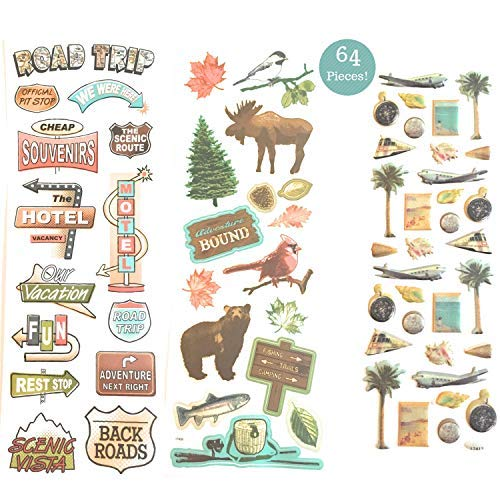 64-teiliges. Reisen, Road Trip & Nature Design Scrapbook Sticker Kit - Value Pack. -