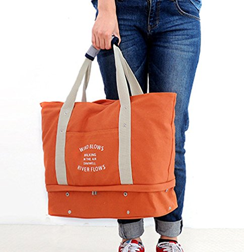 Sentao Groß Kapazität Multifunktionale Reisetasche Handtasche Umhängetasche Shopper Tasche Schuhtasche Orange