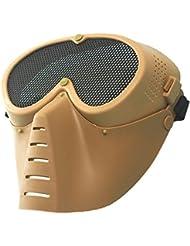 wwman malla de acero Máscara Disfraz Máscara de airsoft Tactical Paintball CS Wargame Generic táctico máscara, canela