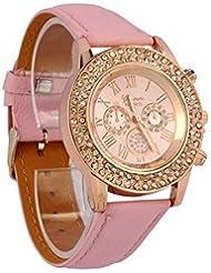 Mujeres Reloj - Geneva Reloj para mujeres, correa de cuero color rosa