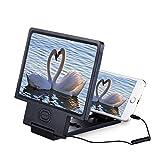 Magnifier 3X 8,5-Zoll-Handy-Bildschirm-Verstärker, Video-Verstärker mit Lautsprecher Audio-Handy-Halter, Multifunktions-Handy-Halter HD-Augenschutz Alle Handys universell (Farbe : Schwarz)