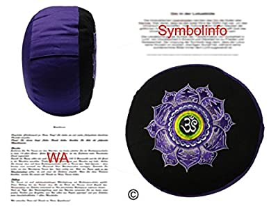 Dekorativ besticktes Sitz-/Yoga-/Meditationskissen OM bicolor mit Symbolinfo und WA