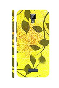 AMAN Yellow Leafs 3D Back Cover for Gionee P7