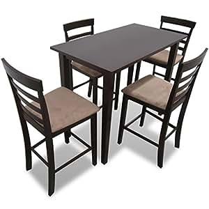 furnituredeals set bartisch set tisch und 4 st hle bar aus holz braun set tisch und st hle. Black Bedroom Furniture Sets. Home Design Ideas