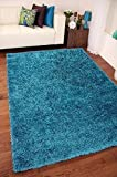 Soft Touch Shaggy Teal Thick Luxurious Soft 5cm Dense Pile Rug. Available in 7 Sizes (120cm x 170cm) by Rugs Supermarket