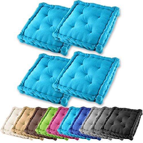 4er Set Gräfenstayn Sitzkissen Stuhlkissen 40x40x9cm für drinnen und draußen aus 100% Baumwolle – in verschiedenen Farben – Steppkissen / Bodenkissen (Türkis)