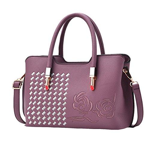 Sacchetto Di Spalla Del Sacchetto Del Messaggero Del Sacchetto Delle Donne Dell'atmosfera Di Modo Del Ricamo Di Retro Purple
