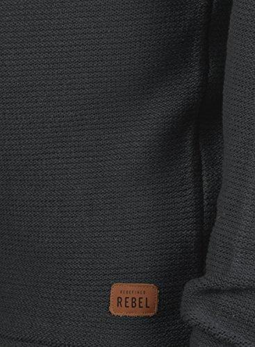 REDEFINED REBEL Milford Herren Strickpullover Feinstrick Pulli mit Rundhals-Ausschnitt samt Knopfleiste aus 100% Baumwolle Meliert Antracit Grey