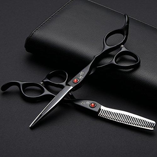 Haarschneideschere Set, Friseurscheren 6 Zoll inkl.scharfer und präziser Schnitt Friseurschere, Etui und Kamm (Schwarz&Silber)