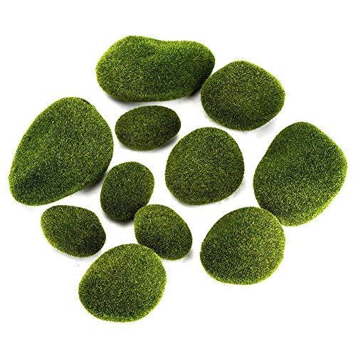 Musgo Artificial Rocas,12 piezas Varios Tamaño Decorativas Piedras Artificiales para Arreglos Florales/Jardines/Terrarios...