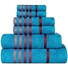 /Bleu Mist Gant de Toilette et de Mains/ CASA COPENHAGEN Exotique Coton 475/g//m/² Design de 6/pi/èces Ensemble Cadeau de Serviettes de Bain