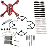 Hobbylane 8-in-1 Red/White Spare Parts Crash Pack for Hubsan X4 H107C Quadcopter 2 PCS 380 mAh Batteries Mini Drone Shell 16 PCS Rotor Blades Protective Gear Motor and Other as Shown from Hobbylane