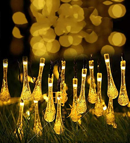 JAY-LONG Solar Lichterketten, 30 LED Bunte Regentropfen Outdoor Landschaft Lampe, Weg, Garten, Rasen, Hof, Korridor, Terrasse, Wasserdichtes Dekor Licht,Warmlight,200LED -
