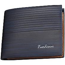 Pawaca, portafoglio da uomo in ecopelle, con tasca anteriore minimalista Blue LK017