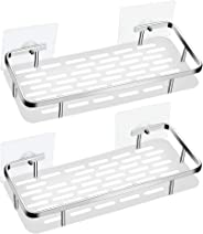 Onkuey Adhesive Durable Aluminum Bathroom Shelf Shower Caddy Kitchen Rack Organizer Storage Basket Wall Mounted No Drilling - 2 Pack