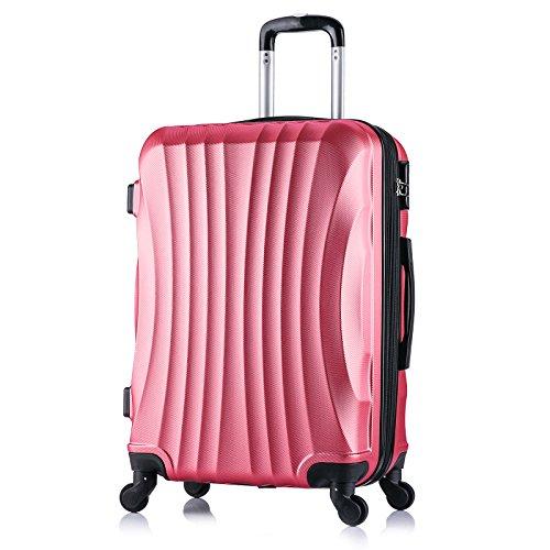 WOLTU RK4213rs-L , Reise Koffer Trolley Hartschale 4 Rollen Volumen erweiterbar Reisekoffer Hartschalenkoffer Handgepäck groß M / L / XL / Set leicht & günstig Rosa (L 65 cm & 70 Liter)