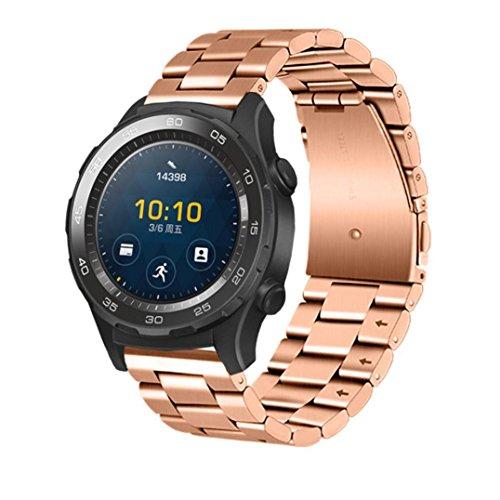 Preisvergleich Produktbild Sansee Echtes Edelstahl Armband Smart Watch Band Strap für echte Uhr 2 Huawei 2 Generationen von drei Riemen (Rose Gold)