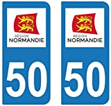 supstick 2 STICKERS AUTOCOLLANT PLAQUE IMMATRICULATION DEPT 50 Normandie