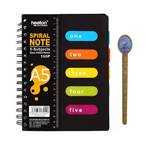 Moonlove, taccuino con rilegatura a spirale, con indice e pagine divisorie colorate, diario per appunti, pagine con righe A5