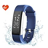 Fitness Tracker, efoshm impermeabile IP67 Fitness orologio con cardiofrequenzimetro Bluetooth Touch Screen Sport Activity Tracker Contapassi/Contatore di Calorie/sleep Monitor inseguitore/chiamate/SMS/SNS notifica Smart Watches per Android e iOS, blau