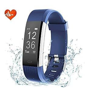 EFOSHM ID115plus HR Smart Armband,Fitness Tracker, Bluetooth 4.0 Fitness Armband, Unterstützung ios7.1 oben android4.4 und höher (blau)