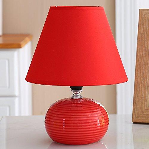 WDTDCD Europäische Tischleuchte Schlafzimmer Lampe Nachttischlampe Keramik Nacht Licht, Rot