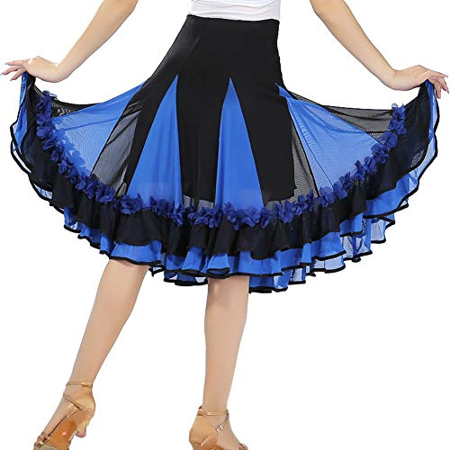 Maritown Frauen Latin Dance Rock, Elegante Damen Dance Dress Latin Salsa Cha Cha Moderne Ballsaal Tango Walzer Rock Dancewear schwarz lila rot blau (Ballsaal Tanz Kostüme Billig)