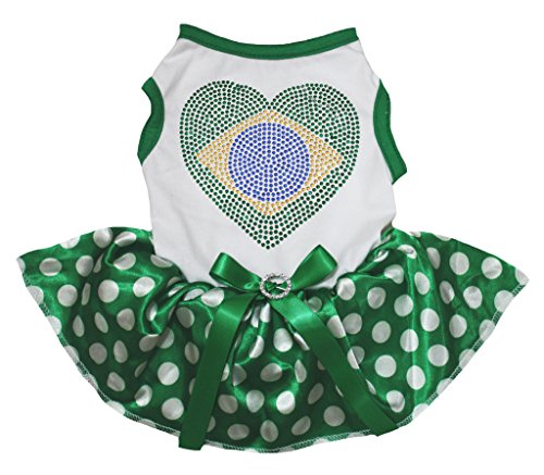 Brasilien National Dress Kostüm - Petitebelle Dog Dress Bling Brazil Heart