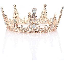 handcess oro rosa boda corona y tiara Reina barroco diadema para las mujeres y las niñas