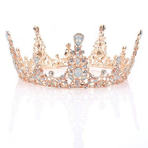 Queen Zubehör Beauty Kostüm - handcess Rose Gold Hochzeit Krone und Tiara Queen Barock Haarband für Damen und Mädchen