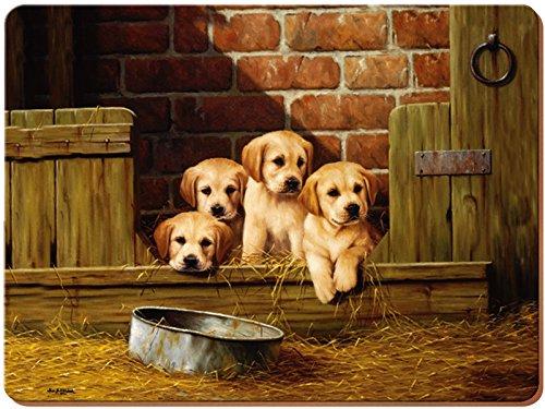 Creative Tops Labrador Welpen Premium Unterseite aus Kork Platzsets, Holz, braun, groß, 4-teilig