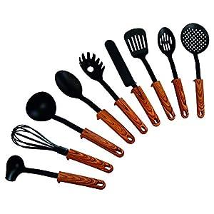 STONELINE 9-teiliges Küchenhelfer-Set Back to Nature, Griffe in Holzoptik, mit praktischer Stütze, geeignet für antihaftbeschichtes Koch-und Backgeschirr Küchenhelferset, Kunststoff, Einheiten