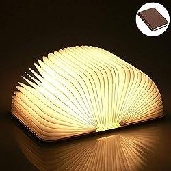 Yuanj LED Buchlampe Faltbar, Hölzerne Buch Lampe, USB Aufladbare Buchlampen, Tragbare Stimmungsbeleuchtung Licht/Dekorative Lampen/Nachtlicht, Geschenk für Frauen/Eltern/Kinder (880mAh/warmweiß Licht)