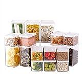 Scatola da Cucina Contenitore per Alimenti - Set di scatole quadrate - Multi-Size - Impilabile - Adatto per Riscaldamento/congelamento