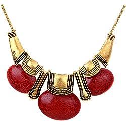 Yazilind estilo étnico Collar llamativo Bronce Marrón Rojo piedra oval del babero Mujeres