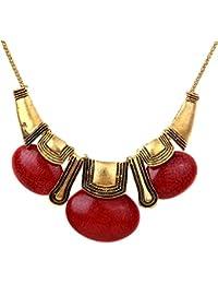 YAZILIND Style Ethnique Collier Bronze Rouge Bib Pierre Ovale Brown Femmes