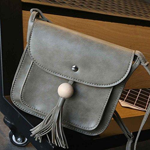 TFgirl Damen Holz Perlen Quaste Square PU Leder Schultertaschen Solid Color Messenger Bags Dunkelbraun