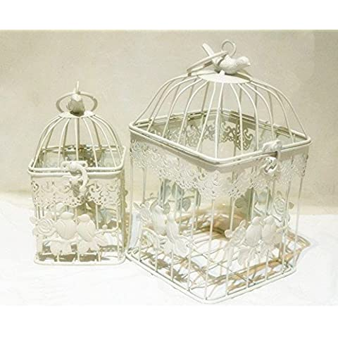 Par las jaulas de pájaros Shabby Chic vintage cuadrada 23 cm-Color blanco