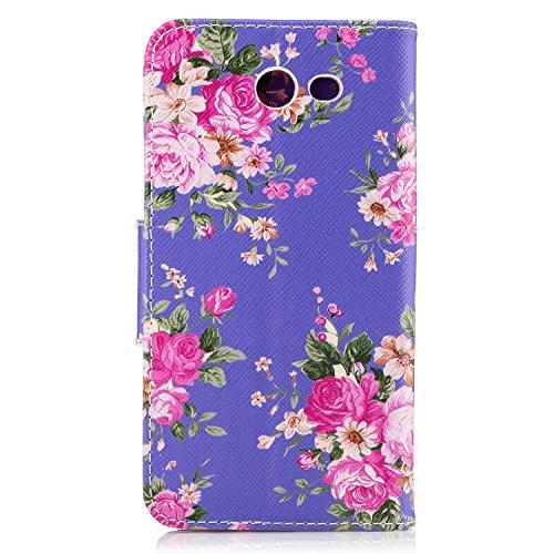 Voguecase Pour Samsung Galaxy J3 2017 Coque, Étui en cuir synthétique chic avec fonction support pratique pour iPhone 5S (Ours-Marron)de Gratuit stylet l'écran aléatoire universelle fleur colorée / violet 01