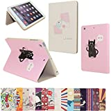 AnNengJing ® for iPad Mini1/2 /3PU Leather Smart Cover Case with Sleep/Wake-up Function丨Colorful Painted Pattern Cover丨Flip Case with Stand Set 丨Multi-Color for your choice (Cat and Fish)