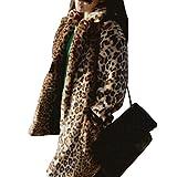 Damen Winter Jacken Kunstpelz Casual Lange Ärmel Parka Warme Elegant Outwear Mäntel Leopard 2XL