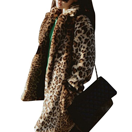 Donna giacca in pelliccia ecologica faux cappotto invernale elegante giacca corta a maniche lunghe leopardo 2xl